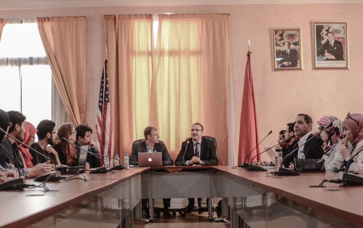 Dan Kamman in a meeting