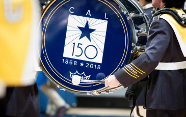 A drum with the Berkeley 150 logo
