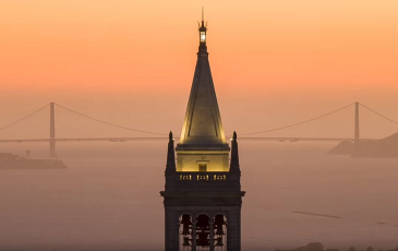 Photo of the campanile at sunset.