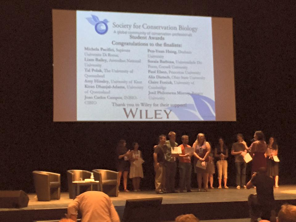 Group research recognized at the 27th International Congress on Conservation Biology