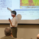 Public meetings were central to the SNAMP project. Scott Stephens at the 2012 annual meeting. PHOTOS: Shufei Lei
