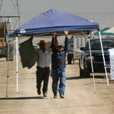 California farmworkers set up a shade tent during a 2009 grape harvest.