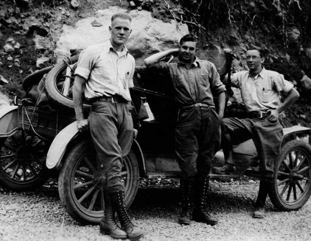Herb Jensen, Fred Grover, Art Halloran, and a 1915 Ford on their way to Forestry Camp in 1928. The photo is part of the Fritz-Metcalf Photograph Collection, a treasure trove of historic photos of forestry at UC Berkeley, assembled by professors emeriti Emanuel Fritz and Woodcliff Metcalf. The collection was digitized and placed online in 2011, with free and open access, by the Marian Koshland Bioscience and Natural Resources Library. PHOTO: Herb Jensen