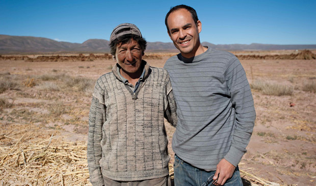 Núñez (right) with Fabio Quispe, a farmer from a community in Salinas, Bolivia. PHOTO: Vitaliy Prokopets