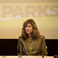 Caryl Hart attends the February 6 Parks Forward Commission meeting. PHOTO: Lezlie Sterling