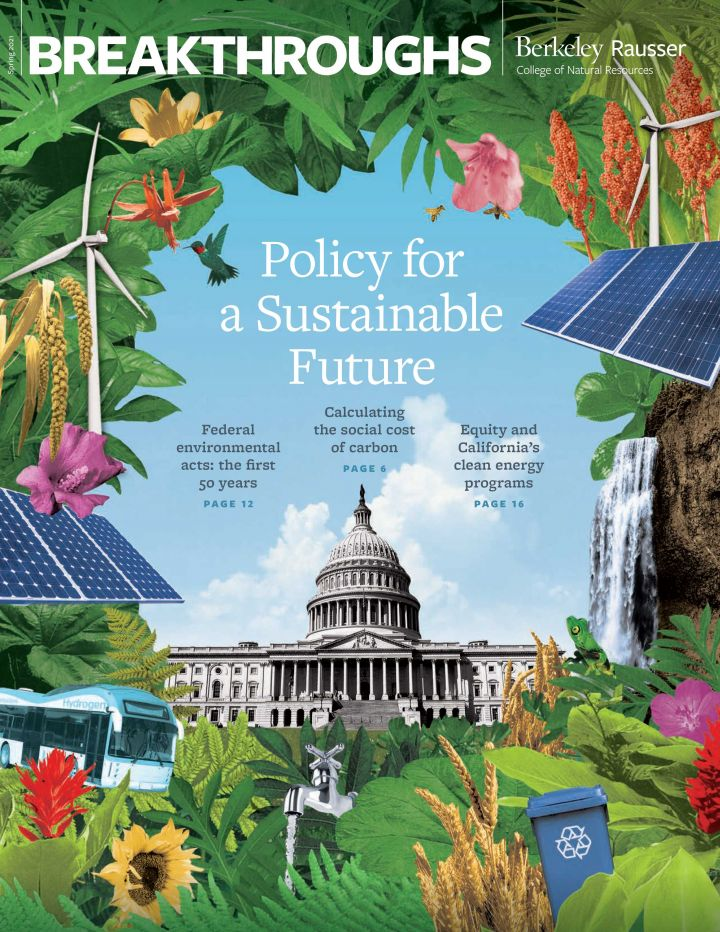 The cover of the spring 2021 Breakthroughs magazine. A collage illustration showing a lush sustainable future around the US capitol building