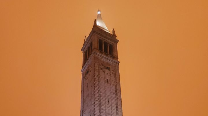 Campanile against a orange sky