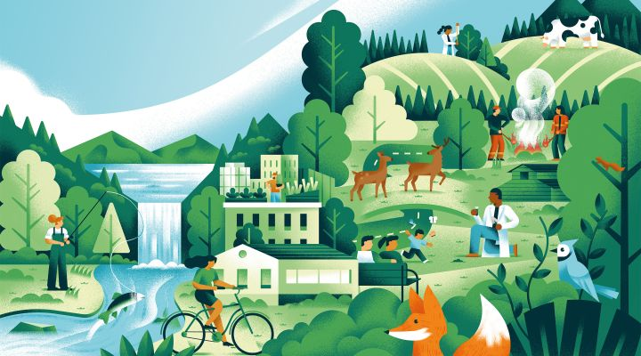 Graphic showing people, animals, and general wildlife scene along with buildings