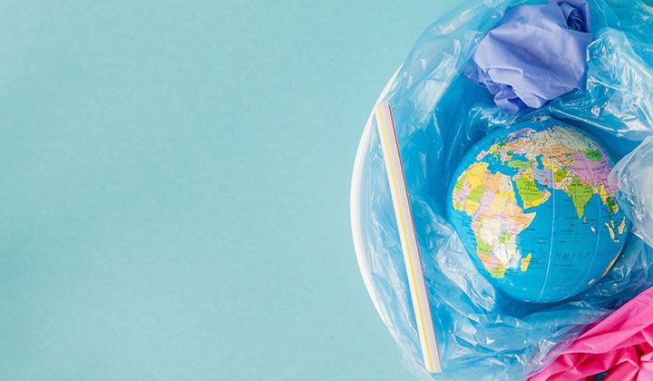 A model of the earth and some garbage.