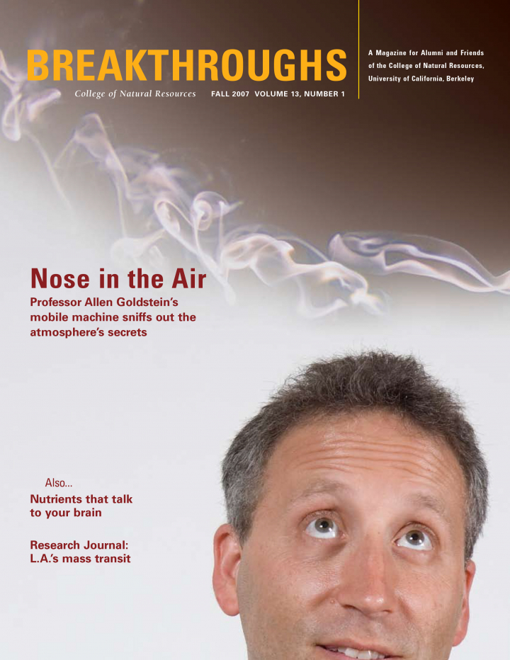 Cover of Breakthroughs Fall 2007, a man sniffing at the smoke in the air