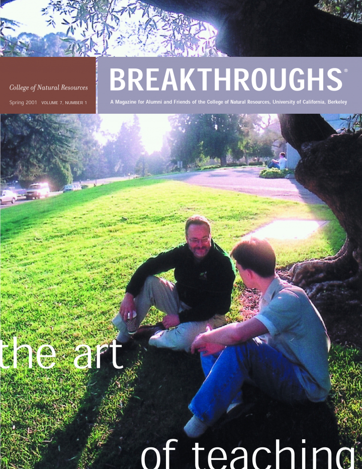 Cover of Breakthroughs Spring 2001, Two people sitting on a grassy hill