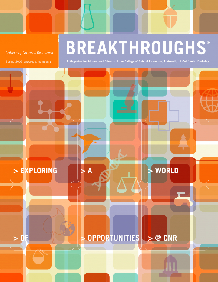 Cover of Breakthroughs Spring 2002, a number of orange squares overlayed, outlining the shapes of animals