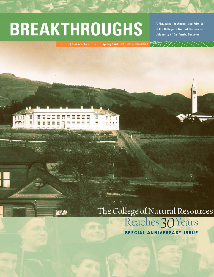 Cover of Breakthroughs Spring 2004, An old photograph of Wellman Hall