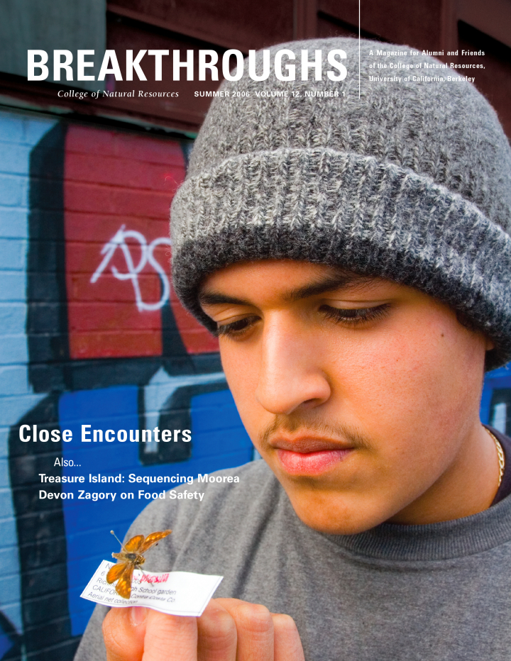 Cover of Breakthroughs Spring 2006, A young man holding a preserved insect