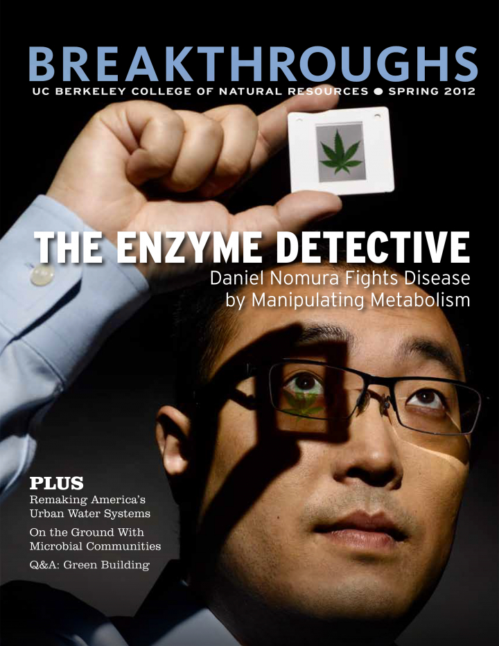 Cover of Breakthroughs Spring 2012, Scientist holding a plant sample up to the light