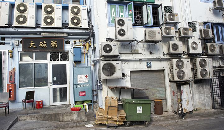 An image of lots of air conditioning units in an Asian country
