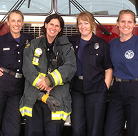 "Female firefighters are ""canaries in the coal mine"" for breast cancer. PHOTO: Courtesy of United Fire Service Women"