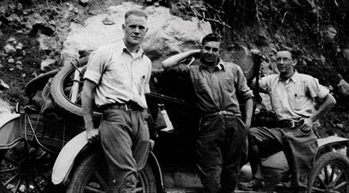 Herb Jensen, Fred Grover, Art Halloran, and a 1915 Ford on their way to Forestry Camp in 1928. The photo is part of the Fritz-Metcalf Photograph Collection, a treasure trove of historic photos of forestry at UC Berkeley