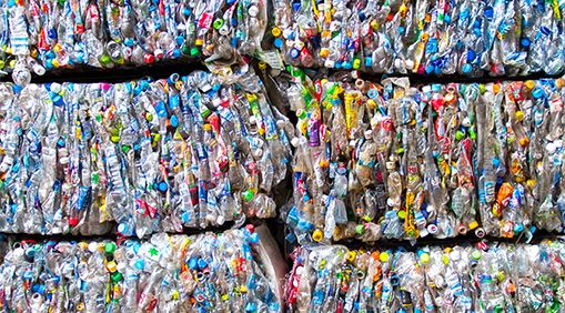 pile of plastics to be recycled
