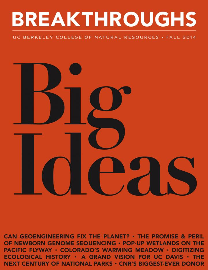 cover Image of Breakthroughs Magazine, Big Ideas set in black against an orangish-red background
