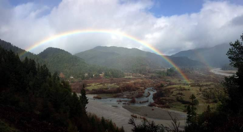 View of mid-Klamath water with rainbow