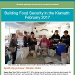 Food Security News with image of people clustered around a table with bowls for bread workshop