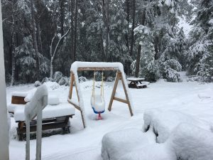 View of yard with picnic table and baby swing, surrounded by trees, everything covered by about a foot of snow.