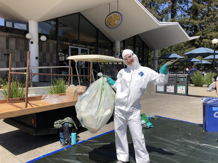 Ella Griffith on campus at a waste sorting event