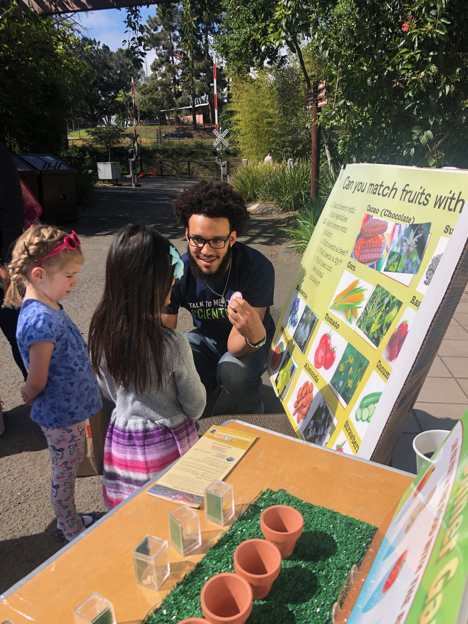 A man teaching students about flowers at a farmer's market