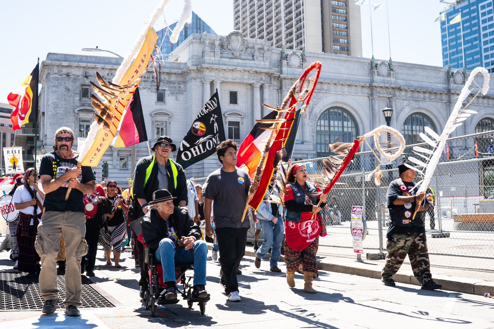 Indigenous protestors at the Rise for Climate, Jobs, & Justice in San Francisco