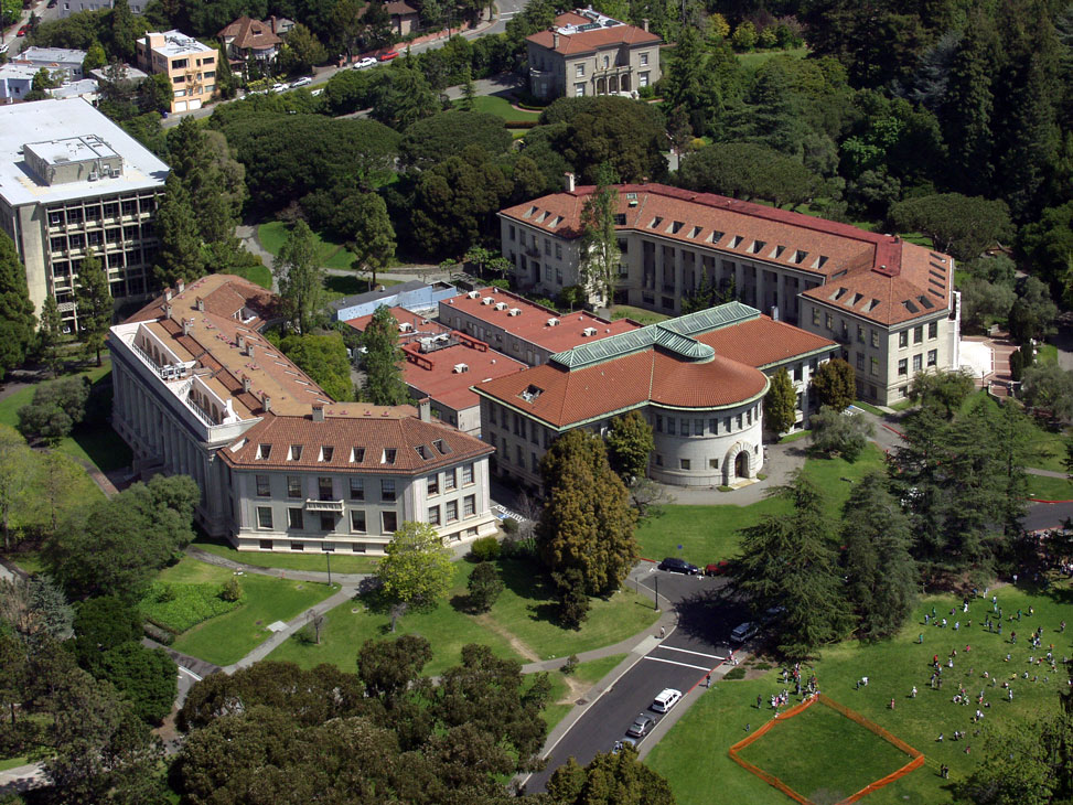 Aerial view of Hilgard, Wellman and Giannini Halls