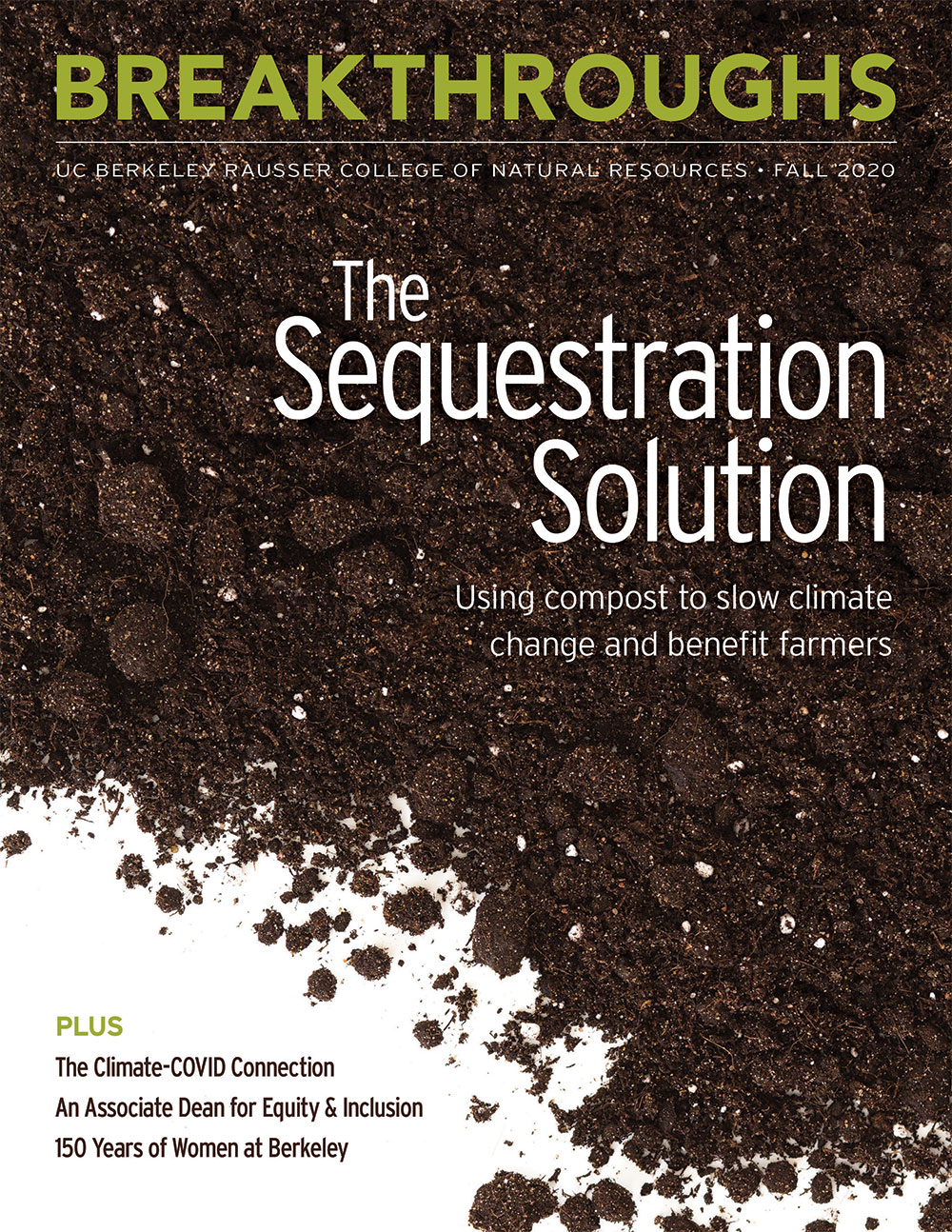 Cover of fall 2020 breakthroughs magazine. Image of soil on a white background.