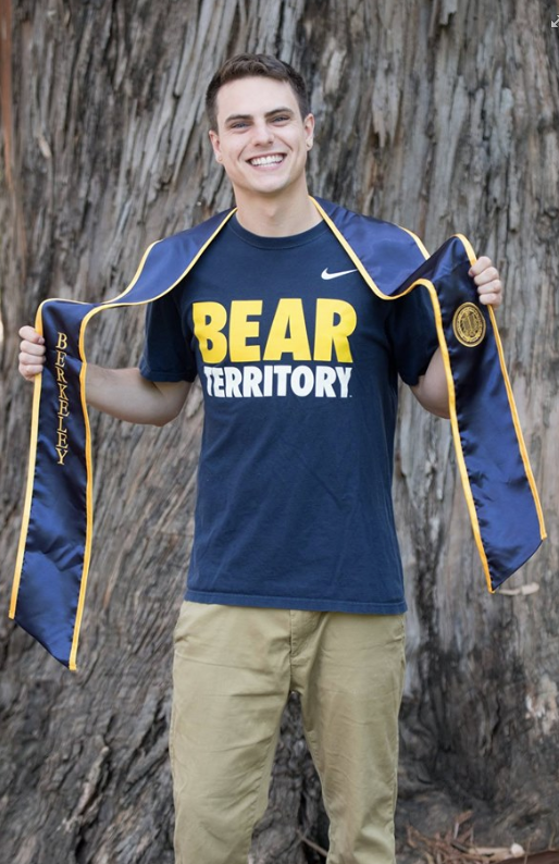 "Brian wearing a ""Bear Territory"" shirt and his graduation stole."