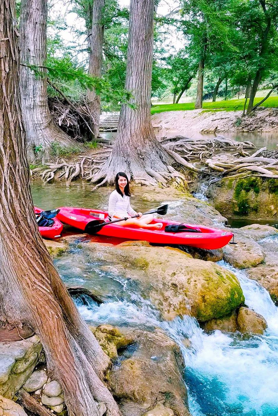 Sabrina Jones Kayaking on the Medina River in Texas.
