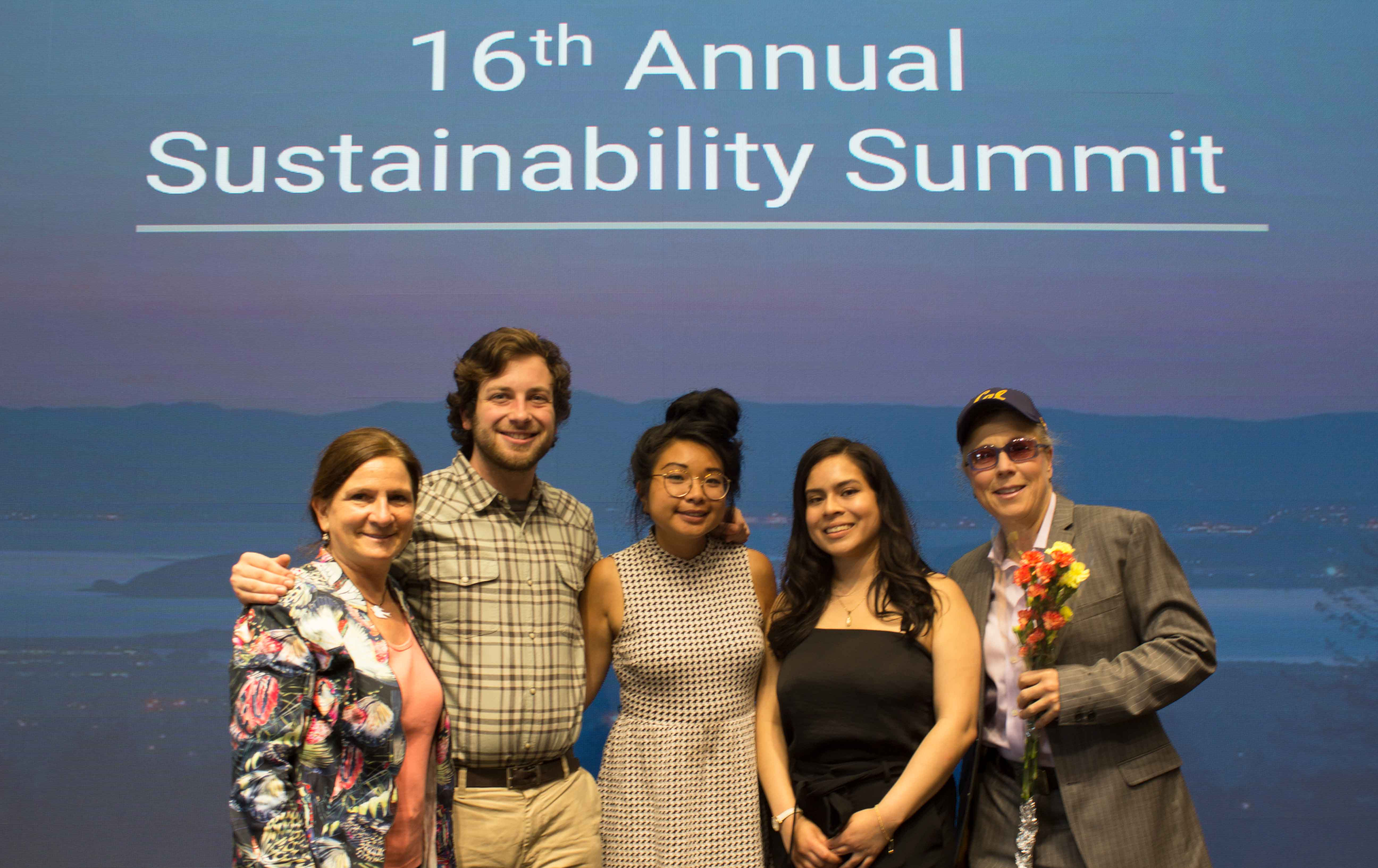 Students and staff pose for a photo during the 2019 sustainability awards at Berkeley