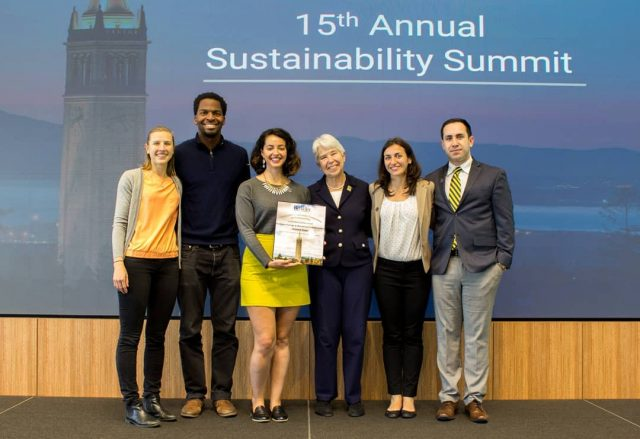 Christian, alongside Berkeley Energy and Resources Collaborative (BERC) colleagues Michelle Levinson, Zineb Bouzoubaa, Cynthia Fernandez Preda, and Jesús Guzmán, accepting one of the six Chancellor's Advisory Committee on Sustainability (CACS) Sustainabil