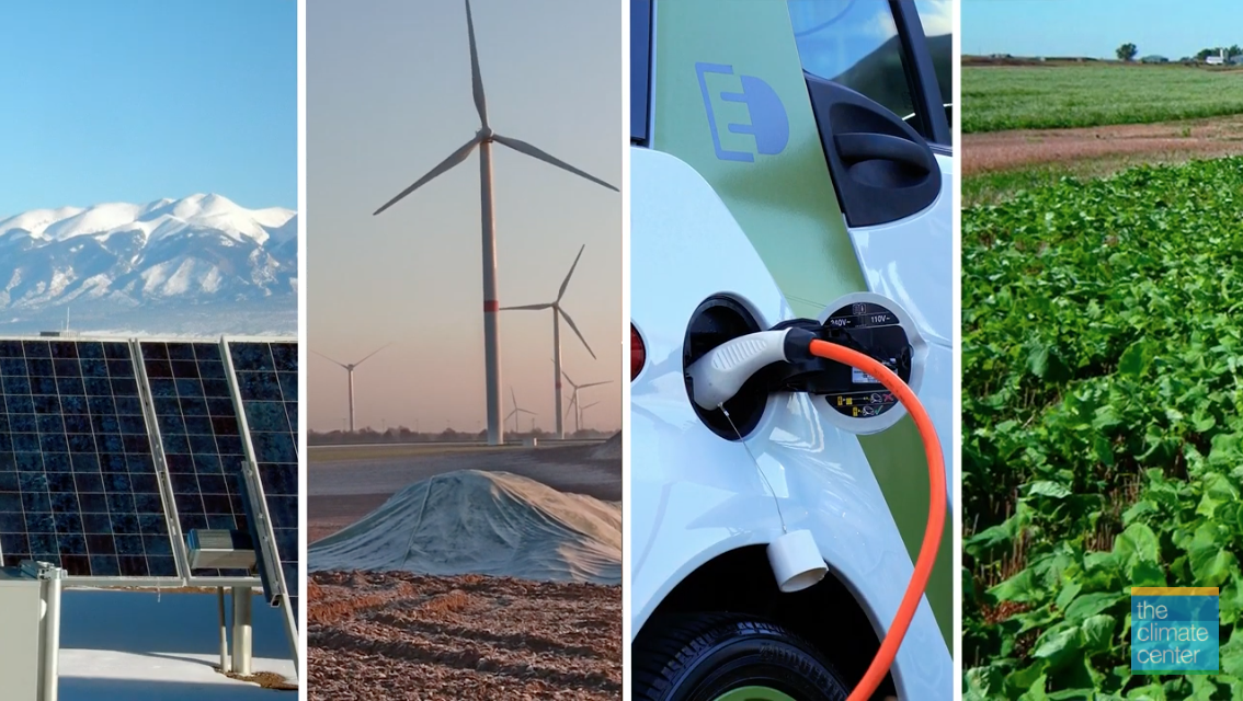 Screenshot of Climate-Safe California webinar series showing images of electric vehicles, wind mills, crops and solar panels