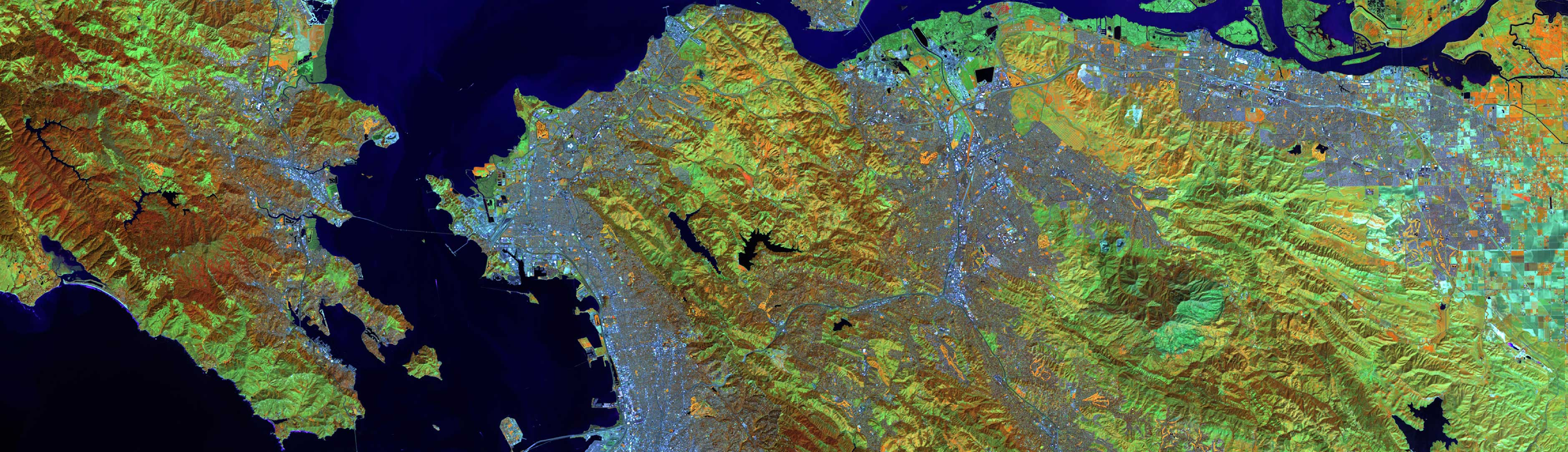 Satellite image of Bay Area from above