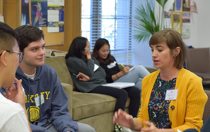 Traci Grzymala speaks with students as part of a resume workshop