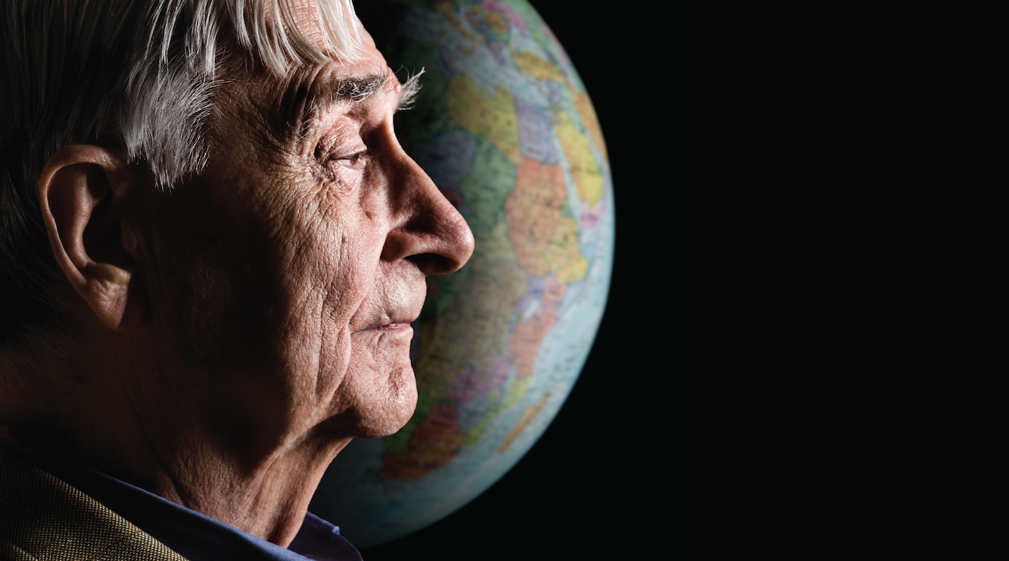 Biologist E.O. Wilson with the Earth behind him