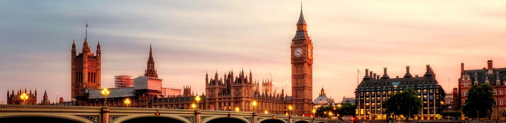 London's skyline at sunset