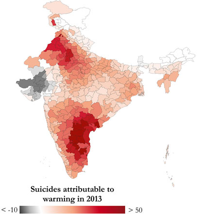 Map of India showing areas with highest rates of suicide from 1980 to 2013