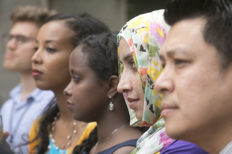 People from diverse cultures, listening.