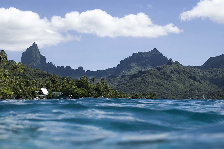 Photograph taken in the ocean with view of Moorea island mountains
