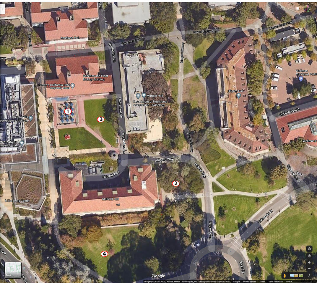 Aerial map of Rausser College with numbers designating reservable spaces