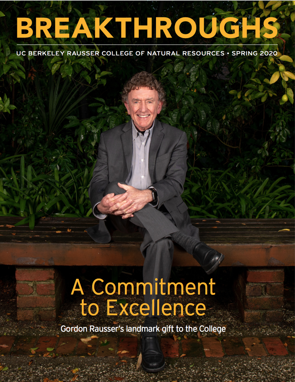 Spring 2020 cover of Breakthroughs magazine showing Gordon Rausser sitting in his garden