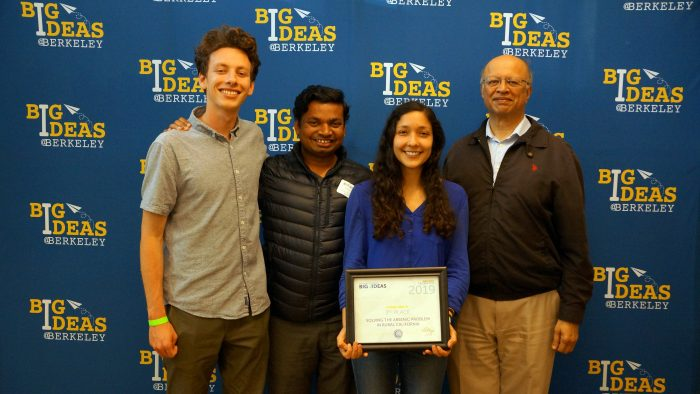 Lucas Duffy, Siva Rama Satyam Bandaru, Dana hernandez, and Professor Ashok Gadgil holding thier award at the Big Ideas Awards ceremony