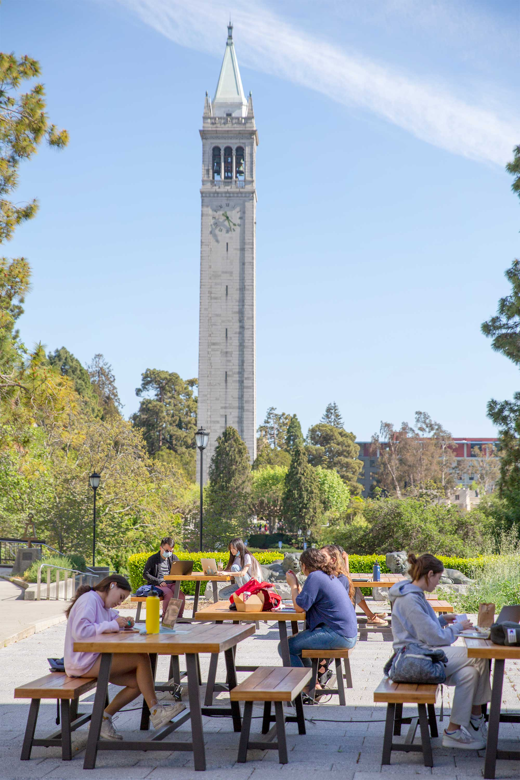 a group of tables with students sitting on them, with the campanile in the background