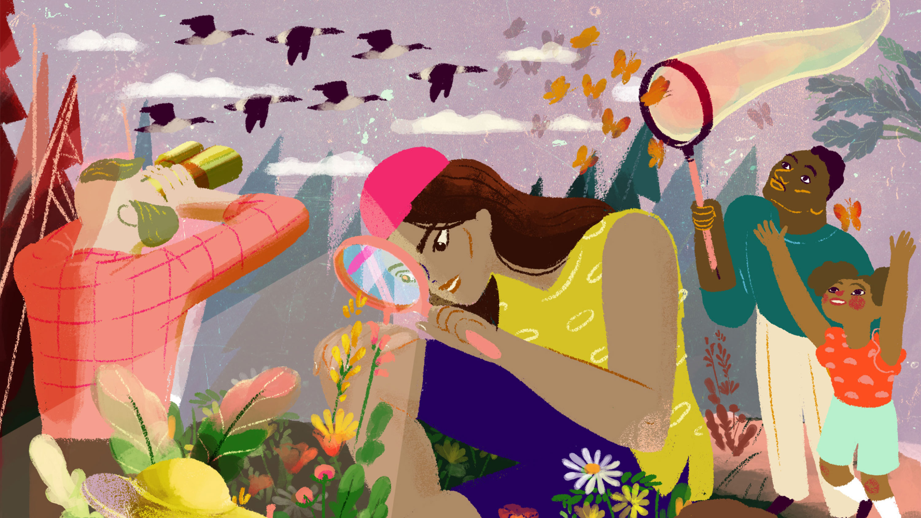 A colorful illustration of people doing citizen science