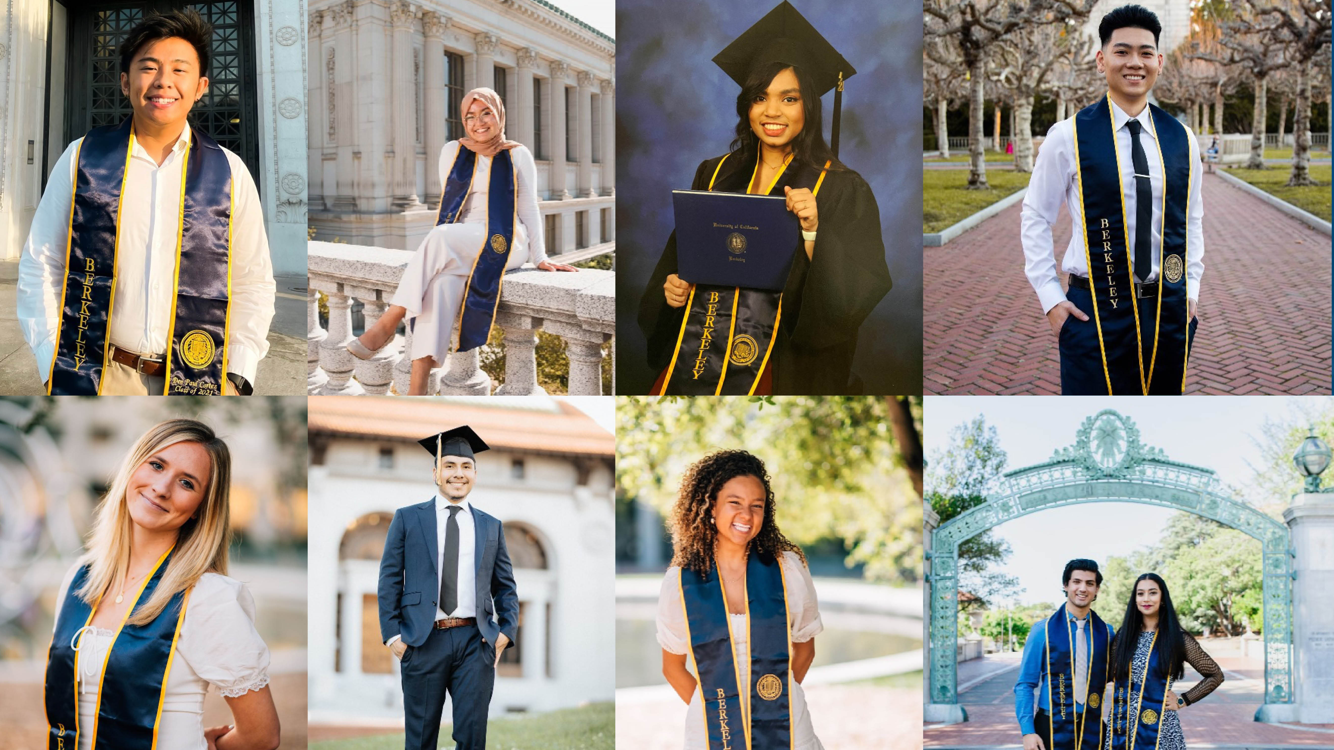 A grid of images of 2021 Rausser College students in graduation gear